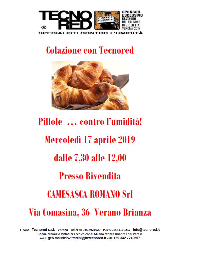 Locandina Colazione con .... Camesasca Romano Srl Verano Brianza  2019